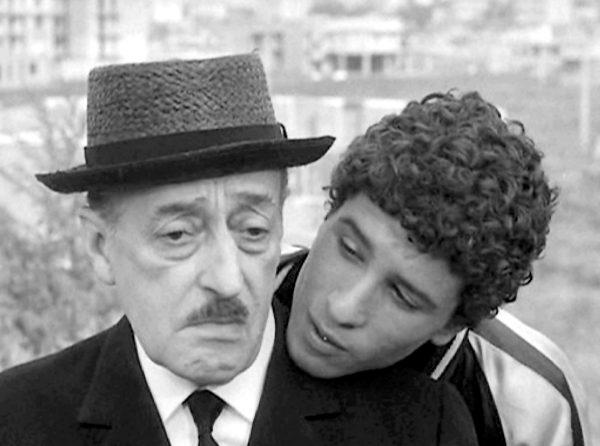 """Totò e Ninetto sul set di """"Uccellacci e uccellini"""" (1966)"""