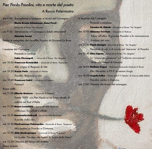 """""""Convegno """"Pier Paolo Pasolini. Vita e morte del poeta"""". Anzio, 11.5.2015. Programma"""