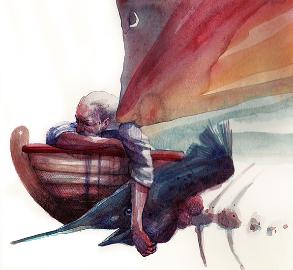 """""""Il vecchio e il mare"""". Opera di Giovanni Robustelli"""