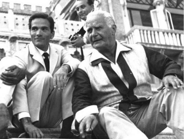 """Pasolini e Rèpaci all'Hotel Excelsior di Viareggio ( Archivio fotografico """"l'Unità"""")"""