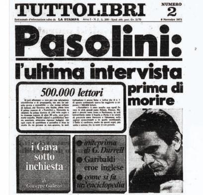 """L'edizione di """"Tuttolibri"""" con l'ultima intervista rilasciata da Pasolini a Furio Colombo"""