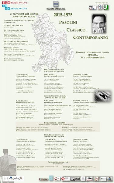 """A Maratea Convegno """"Pasolini classico contemporaneo"""". Locandina"""