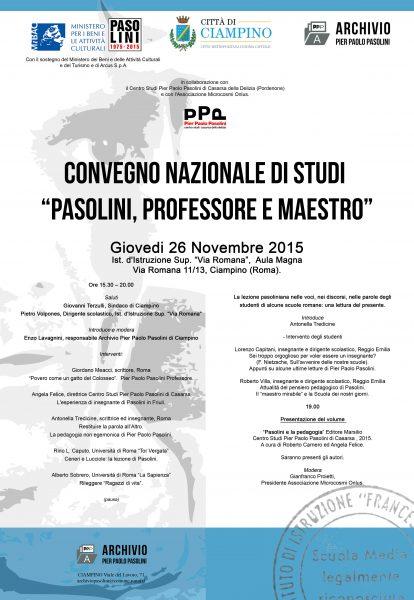 """""""Pasolini,professore e maestro"""". Manifesto Convegno di Ciampino"""