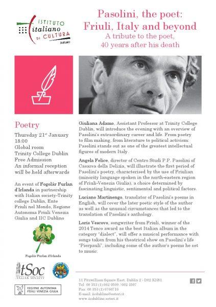 """Pasolini, the poet. Friuli, Italy and beyond"". Locandina"