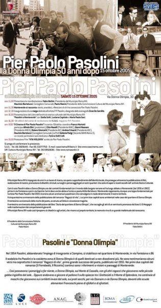 Le manifestazioni per Pasolini a Donna Olimpia. Locandina