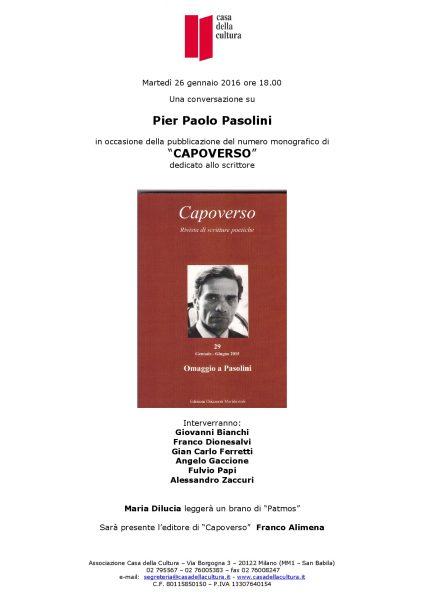 """Invito alla presentazione milanese di """"Capoverso"""",n.21. Omaggio a Pasolini"""