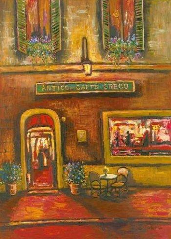Antico Caffè Greco. Dipinto di Vladimir Petinow