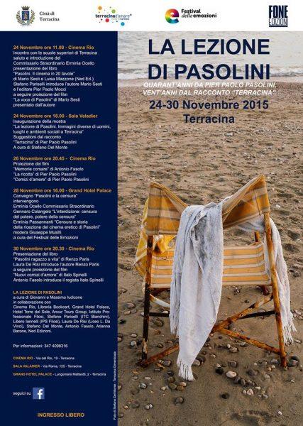 """Convegno """"La lezione di Pasolini"""" (Terracina). Locandina"""