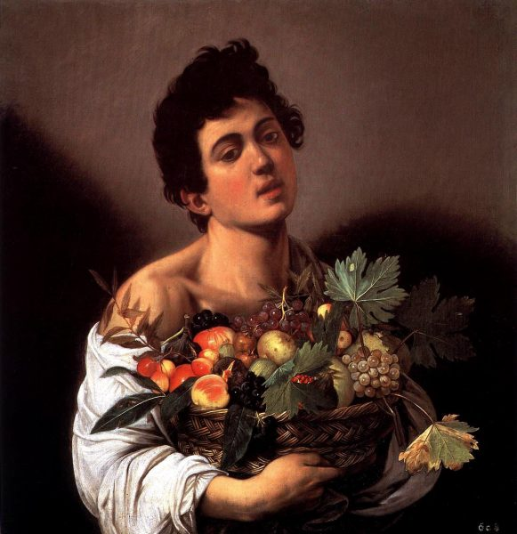 """""""Il ragazzo con il canestro di frutta"""" (1593-1594) di Caravaggio. Galleria Borghese, Roma"""