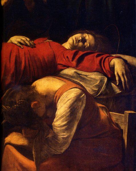 """""""Morte della vergine"""" (1604) di Caravaggio. Museo del Louvre, Parigi"""