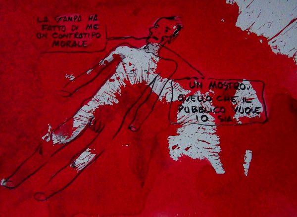 Pasolini. Disegno di Davide Toffolo (2011). Tecnica mista su cartoncino