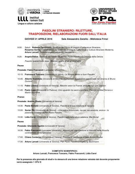 """""""Pasolini straniero"""". Verona 21 aprile 2016. Manifesto"""