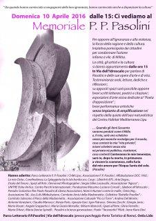 """Memoriale Pasolini"" a Ostia, 10 aprile 2016. Manifesto"
