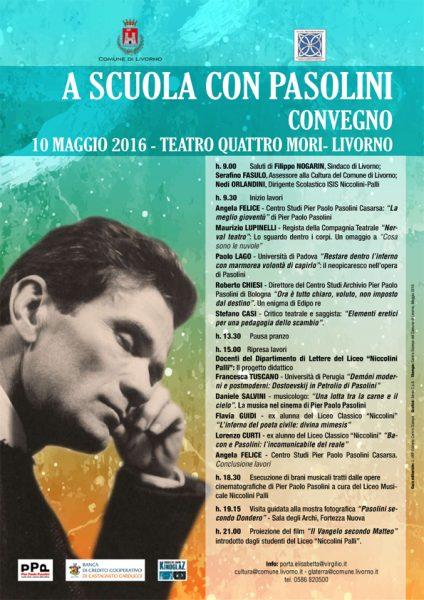 """""""A scuola con Pasolini"""" a Livorno. Manifesto"""