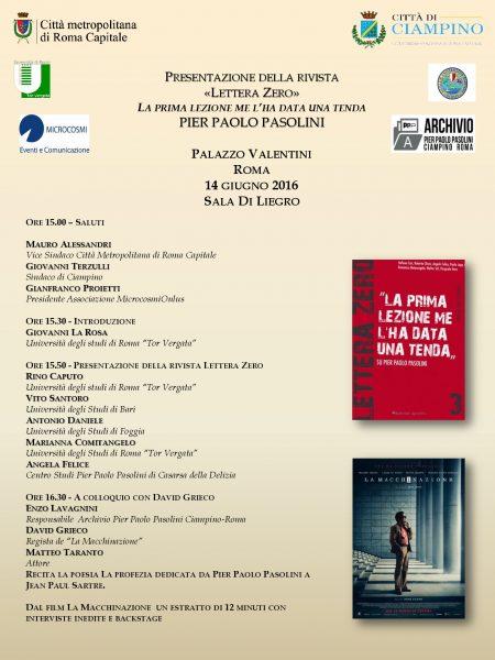"""Lettera Zero"""" n.3. Manifesto della presentazione a Palazzo Valentini (Roma), 14 giugno 2016"""