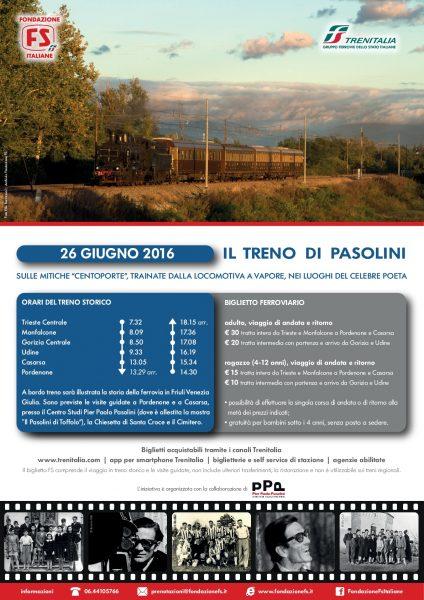 """""""Il treno di Pasolini. Da Trieste a Pordenone"""". Manifesto"""