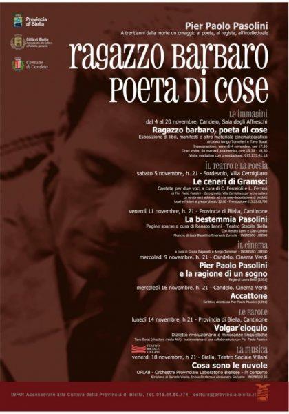Il programma per Pasolini di Biella. Manifesto