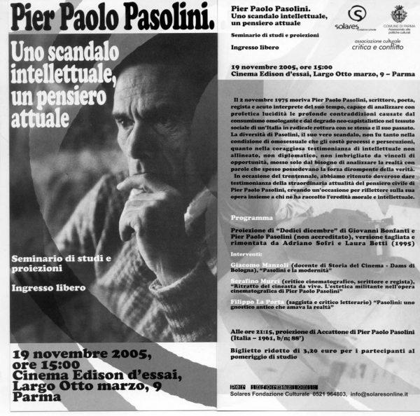Seminario per Pasolini a Parma. Manifesto