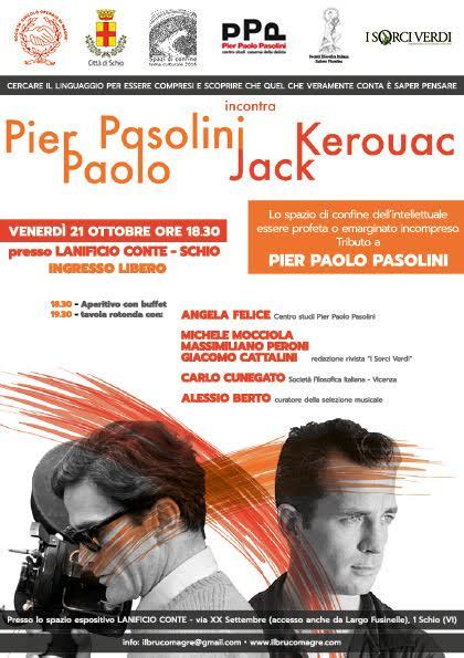"""Pasolini incontra Kerouac"" a Schio. Locandina"