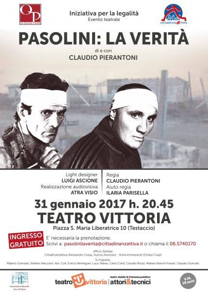 """""""Pasolini: la Verità"""" di e con Claudio Pierantoni. Locandina"""