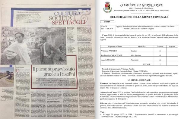 """La pagina de """"LaStampa"""" con l'articolodi Mimmo Gangemi sul """"ponte"""" di Pasolini"""