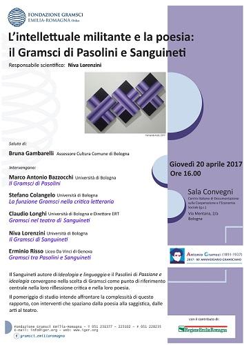 """""""Il Gramsci di Pasolini e di Sanguineti"""". Locandina"""
