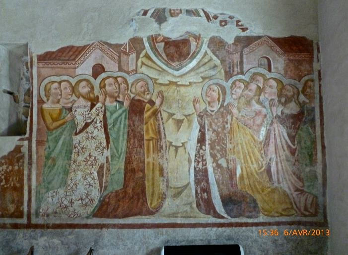 Uno degli affreschi all'interno della chiesetta di Sant'Antonio Abate a Versuta, in una foto di Fabien Girard (2013)