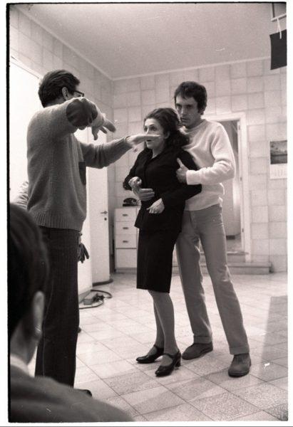 """Pasolini sul set di """"Teorema"""" con Laura Betti e Terence Stamp"""