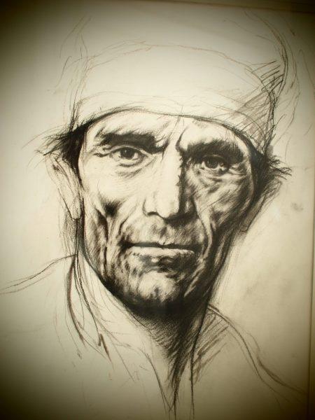 Pier Paolo Pasolini in un ritratto di Ernest Pignon-Ernest