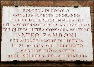 Targa commemorativa per Anteo Zamboni