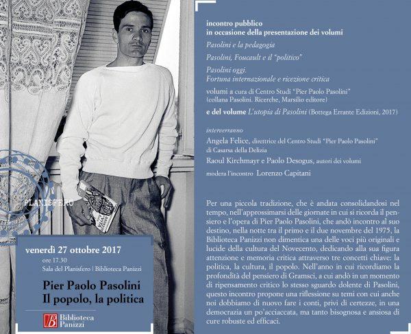 """""""Pasolini. Il popolo, la politica"""", Reggio Emilia, 27 ottobre 2017. Cartolina invito"""