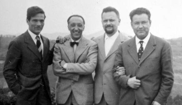 Da sinistra, Pasolini, Francesco Leonetti, Roberto Roversi, Paolo Volponi, Bologna