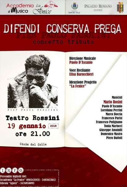 Concerto-tributo a Pasolini a Gioia del Colle. Locandina