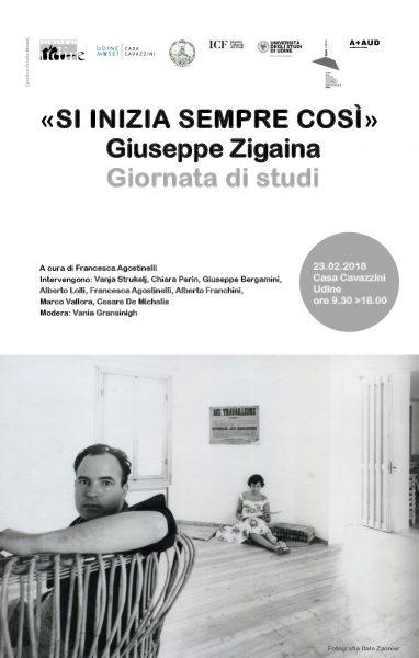"""Si inizia sempre così"". Convegno in onore di Giuseppe Zigaina. Locandina"