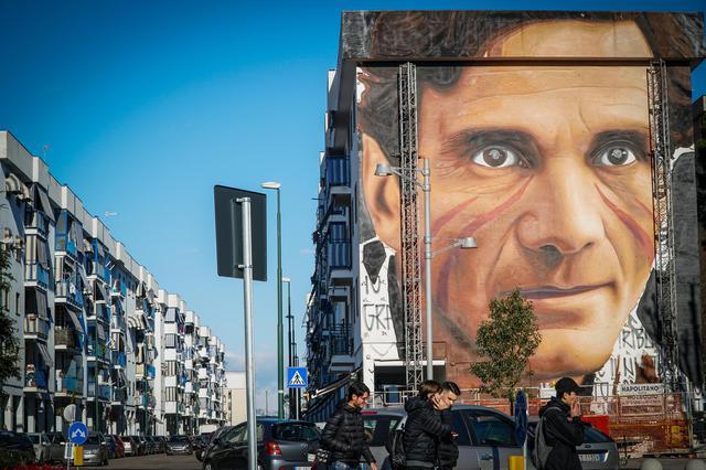 Il murales dello street-artist Jorit dedicato a Pier Paolo Pasolini, a Scampia, Napoli, 7 gennaio 2019. ANSA/CESARE ABBATE