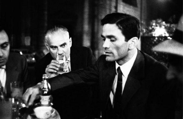 Roma, 1960. Lo scrittore e regista Pier Paolo Pasolini con Alberto Moravia al Caffe' Rosati in piazza del Popolo