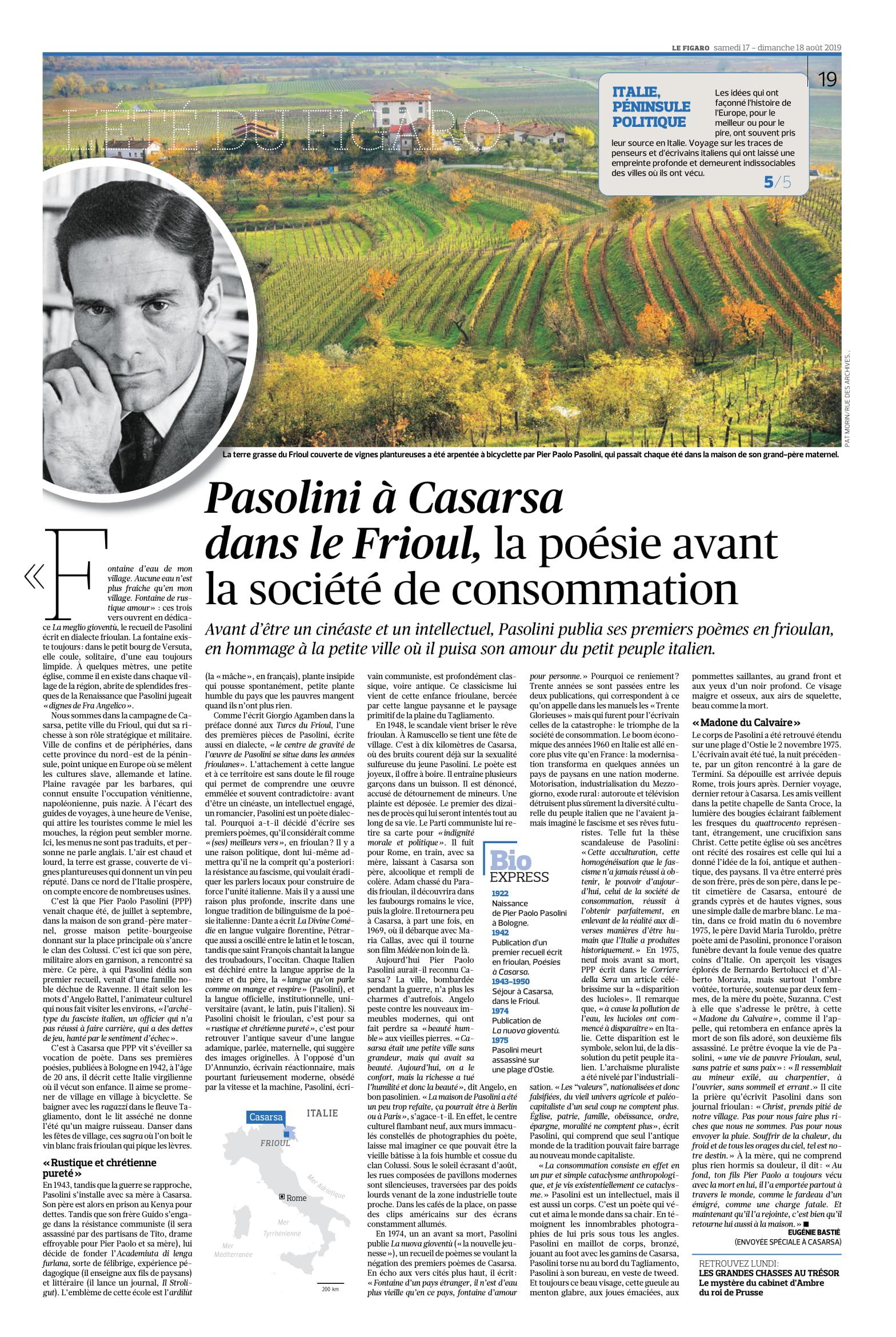 Le Figarò - Pasolini a Casarsa dans le Frioul...17-08-2019-1