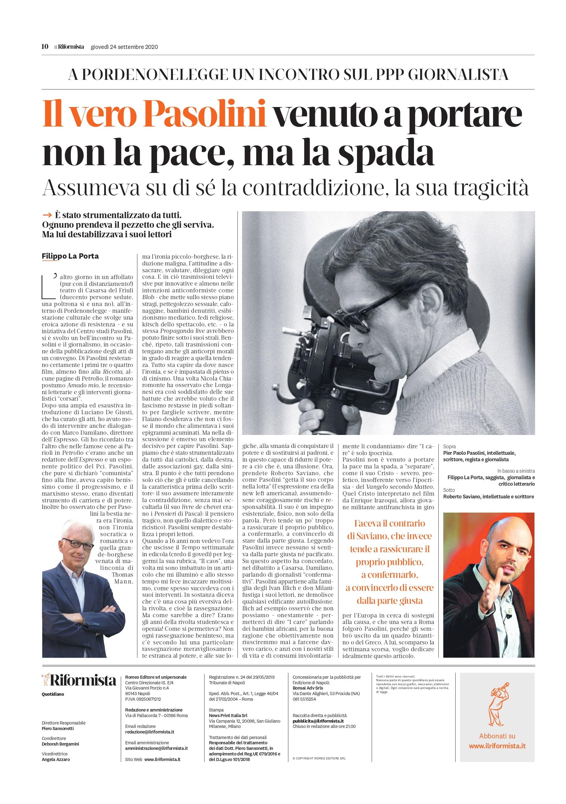 Il Riformista - Filippo La Porta (Pasolini e il giornalismo) 24-09-2020